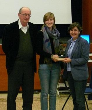 JCU Public Speaking Professor Tom Govero, 1st place winner Alexandra Summers and Dean of Academic Affairs Mary Merva