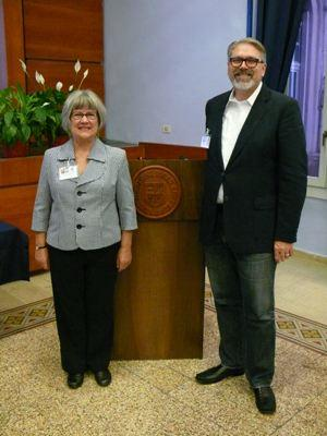 Professor Cathy Fussell with JCU Professor Carlos Dews