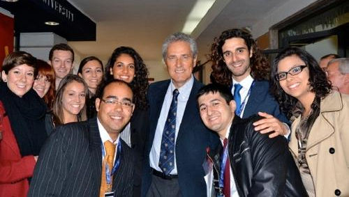 Hon. Francesco Rutelli (center) surrounded by delegates to the International Student Leadership Conference