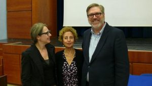Left to right: Professor Geoghegan, Nahid Rachlin and Professor Carlos Dews