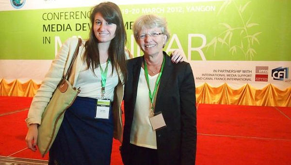 Sara Gabai (left) with Dr. Susanne Ornager, UNESCO Advisor for Communication and Information in Asia at the Media and Development Conference in Myanmar
