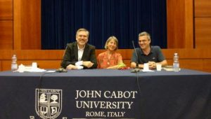 Joint book presentation featuring from left: Carlos Dews, S.J. Rozan, Conor Fitzgerald