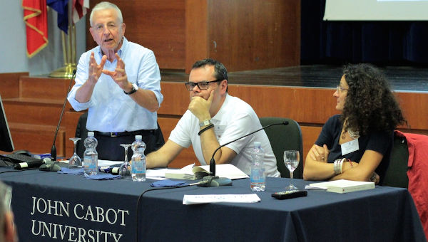 From left: Agop Manoukian, Gianni Guardigli and Professor Zara Pogossian during the lecture