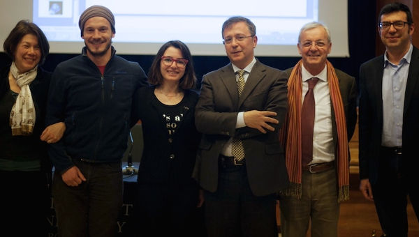 From left: Professor Kneller, students Neal Huddon-Cossar and Asia Colombo, Grammenos Mastrojeni, Professor Gazziano and Professor Arnone