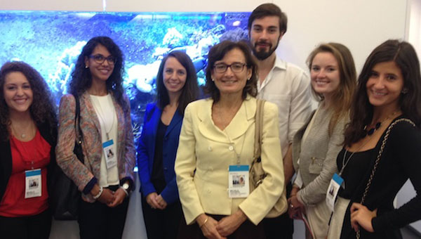 Professor Michèle Favorite's Public Relations class with Bloomberg Bureau Chief Alessandra Migliaccio (center)