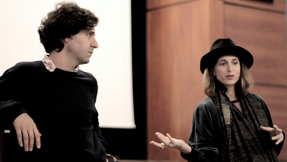 Director Carlo Lavagna (left) with Writer Chiara Barzini at John Cabot University