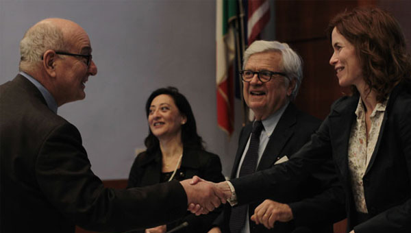 Left to right: President Pavoncello, Donatella M. Viola, Guido Lenzi, and Professor Estzer Salgó