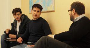 Fabio Adago and Federico Palmieri with Professor Riccardo Maiolini
