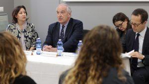 In order: Diana Maye, Professor Argentieri, Professor Galli and Maurizio Caprara