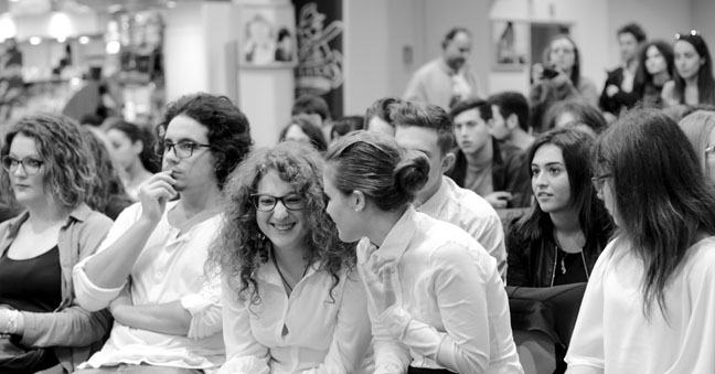 "High school students anticipate their turn at the JCU Institute for Entrepreneurship's ""Italy Pitches"""