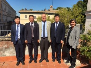The Delegation from the University of Shanghai with President Franco Pavoncello and Dean Mary Merva