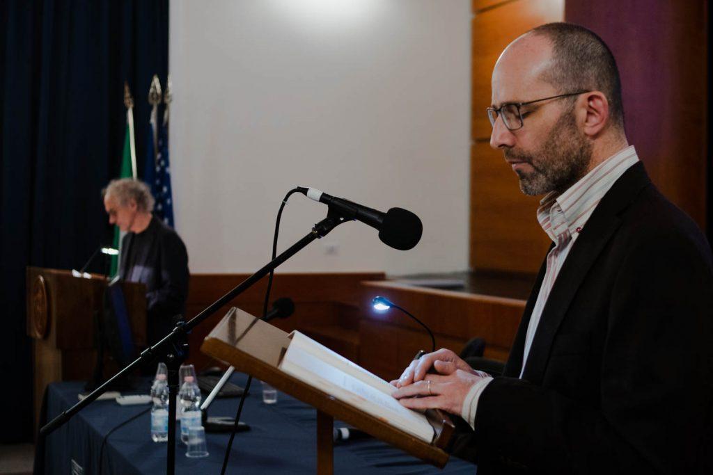 From left: poet Luigi Trucillo and translator James Schwarten