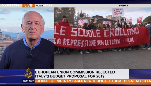 Professor Argentieri Interviewed by Al Jazeera on Italy's 2019 Budget