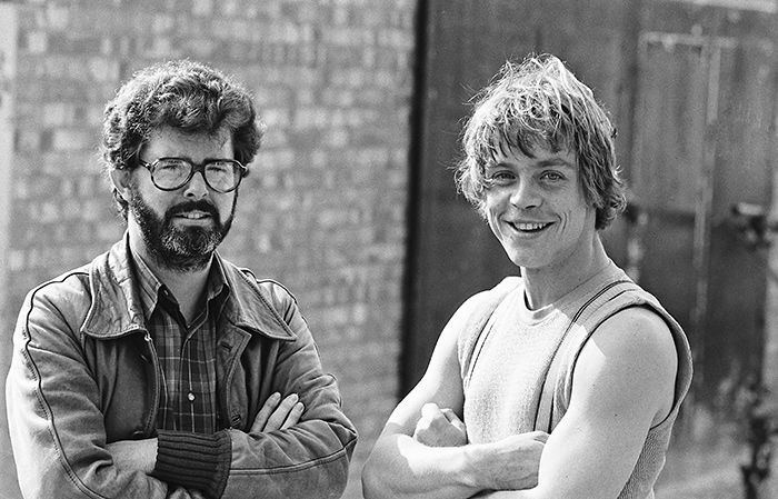George Lucas on the left and Mark Hamill on the right