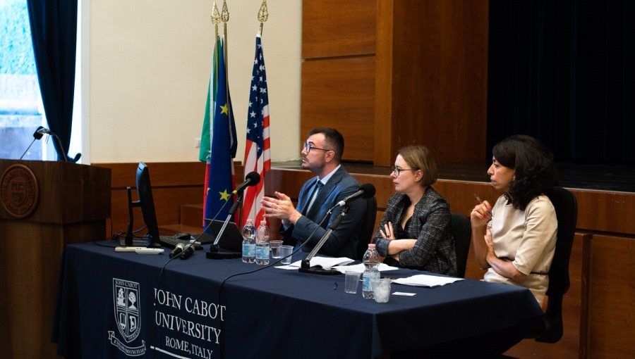 From left: Giovanni Quer, Amy Rosenthal, Doaa Abdel-Motaal - Israel's Nation-State Law
